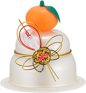 サトウの福餅入り鏡餅小飾り 鶴橙付き の商品画像