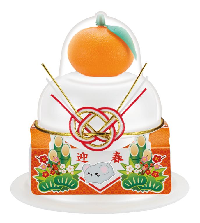 サトウの福餅入り鏡餅小飾り 迎春橙付き