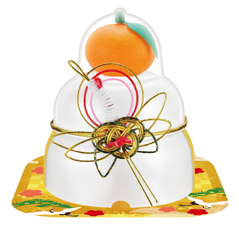 サトウの福餅入り鏡餅小飾り 鶴橙付き