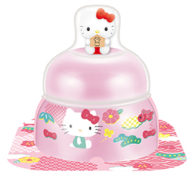 サトウの福餅入り鏡餅 小飾り ハローキティ オリジナルマスコット付きピンク