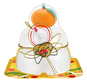 サトウの福餅入り鏡餅 小飾り 鶴 橙付き