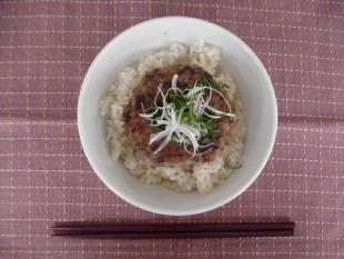発芽玄米のいわしハンバーグ丼の画像