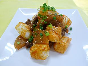 餅と牛肉のピリ辛炒めの画像