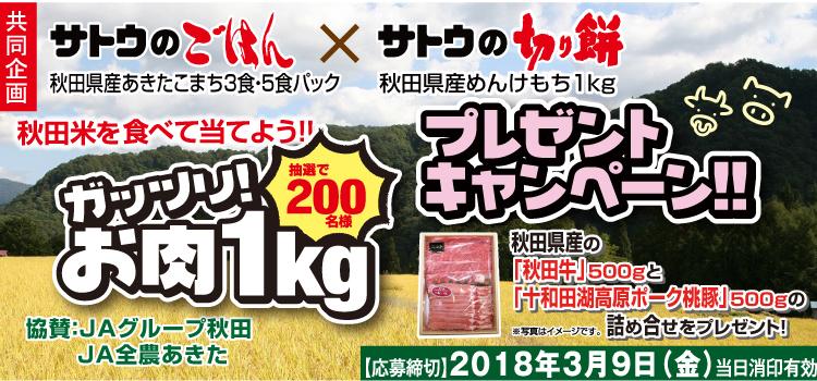サトウ食品 ガッツリ!お肉1kgプレゼントキャンペーン